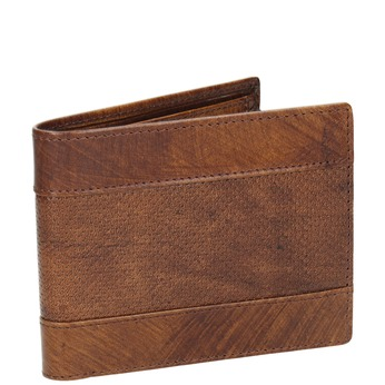 Pánská kožená peněženka s perforací bata, hnědá, 944-3192 - 13