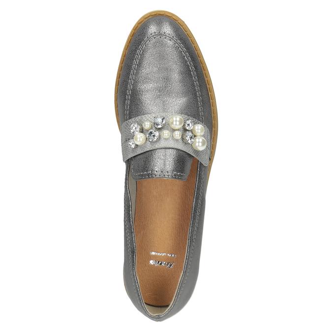 Stříbrné mokasíny s perličkami bata, stříbrná, 511-6610 - 17