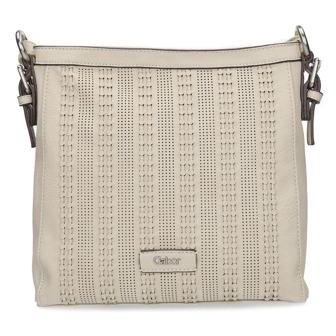 Crossbody kabelka s perforovaným vzorem gabor-bags, béžová, 961-8014 - 26