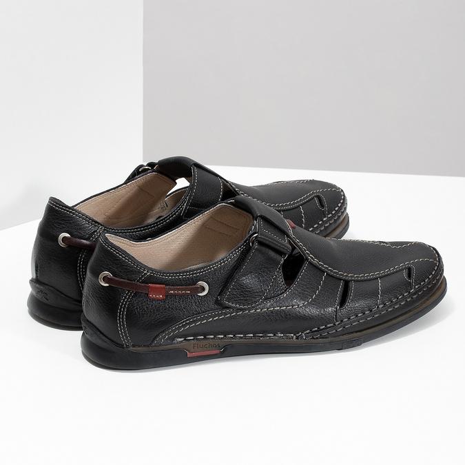 Kožené sandály s prošíváním fluchos, černá, 864-6605 - 16