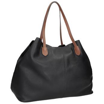 Černá kožená kabelka s hnědými uchy bata, černá, 964-6293 - 13