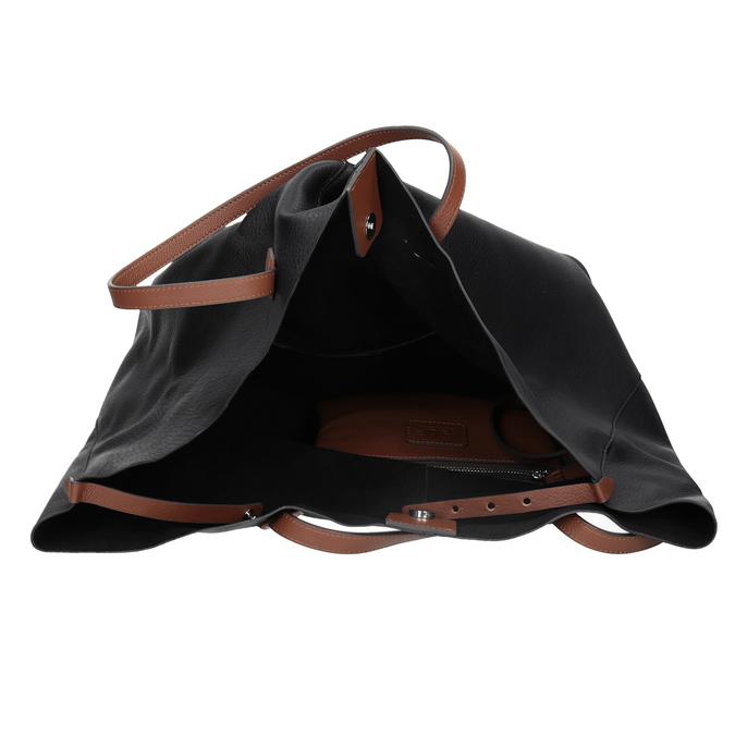 Černá kožená kabelka s hnědými uchy bata, černá, 964-6293 - 15
