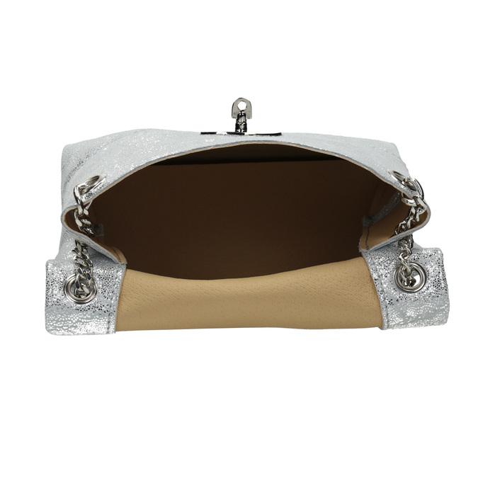 Stříbrná kožená Crossbody kabelka bata, 964-1239 - 15