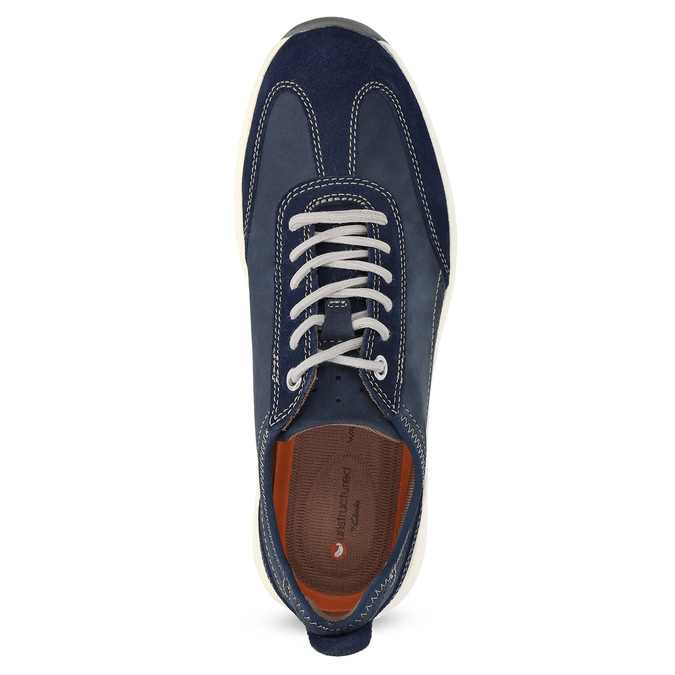 Pánské tenisky z modré broušené kůže clarks, modrá, 826-9027 - 17