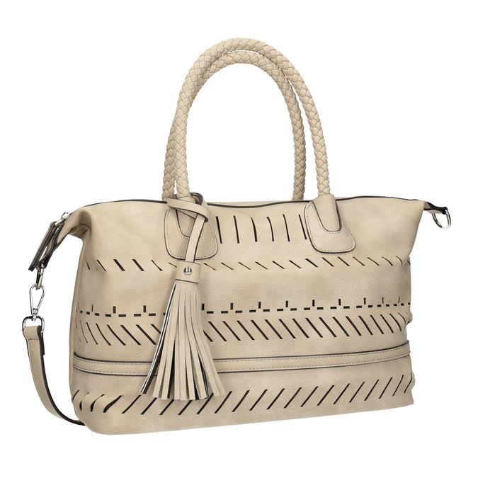 Dámská kabelka s perforací a střapcem bata, béžová, 961-8827 - 13