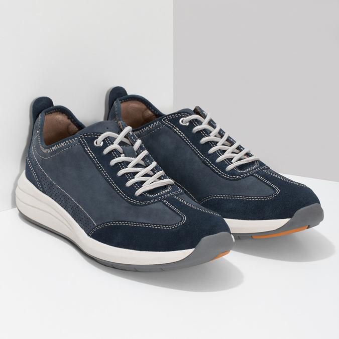 Pánské tenisky z modré broušené kůže clarks, modrá, 826-9027 - 26