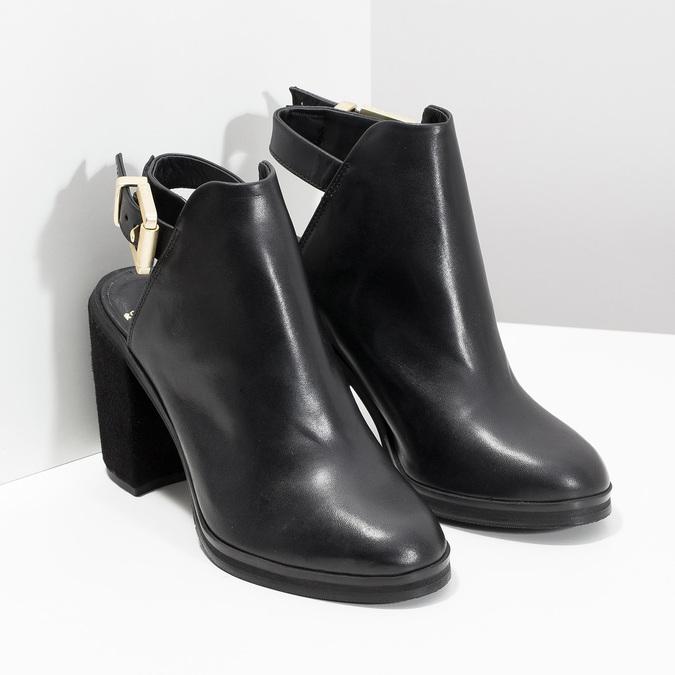 Kožená obuv na masivním podpatku royal-republiq, černá, 524-6020 - 26