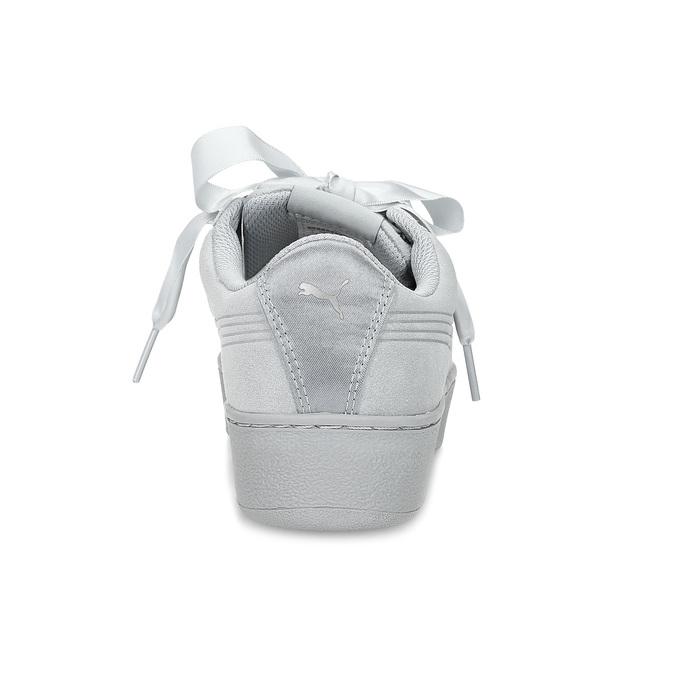 Kožené tenisky s mašlí na flatformě puma, šedá, 503-2737 - 15
