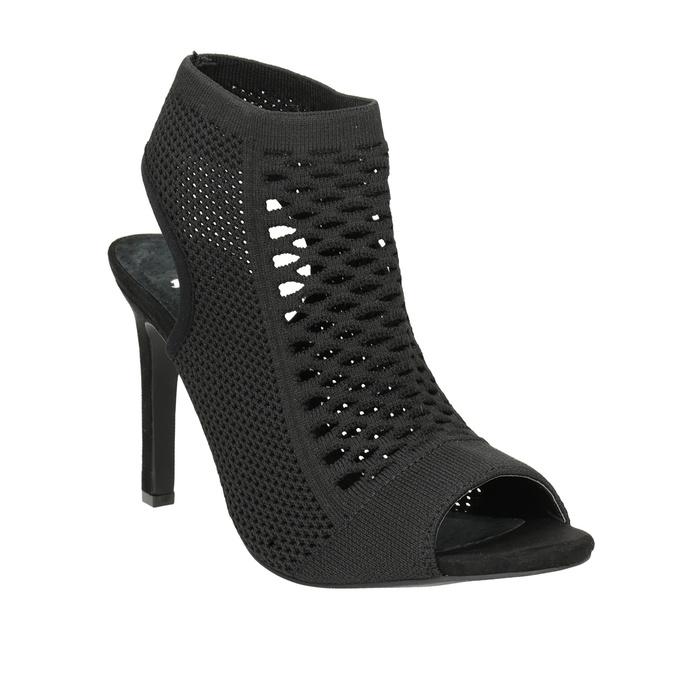 Sandály na podpatku s pleteným svrškem bata, černá, 729-6617 - 13