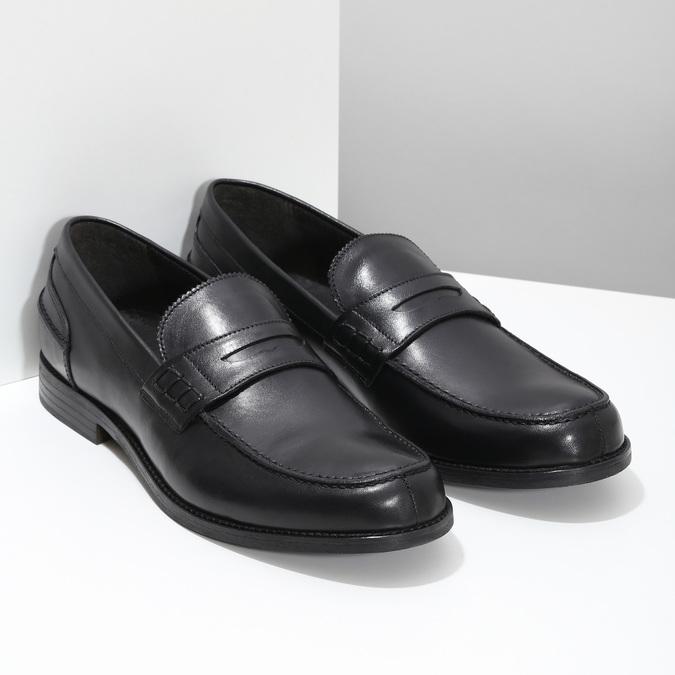 Kožené pánské mokasíny černé bata, černá, 814-6128 - 26