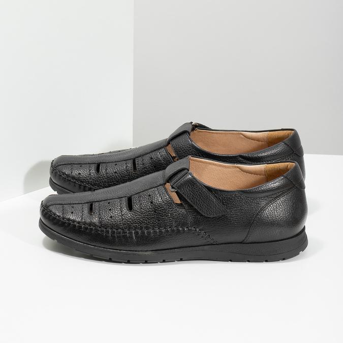 Kožené pánské sandály s pohodlnou podešví černé comfit, černá, 854-6602 - 16