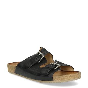 Pánské kožené nazouváky bata, černá, 866-6648 - 13