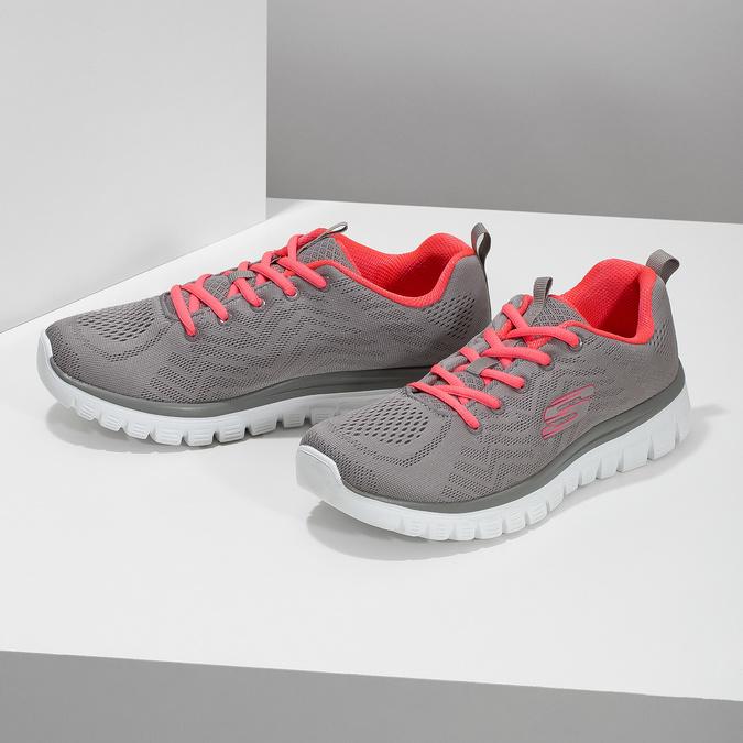 Sportovní růžovo-šedé tenisky dámské skechers, šedá, 509-2418 - 16