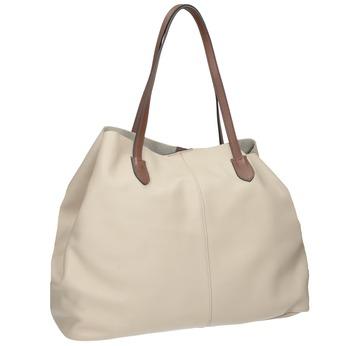 Béžová kožená kabelka s hnědými uchy bata, béžová, 964-8293 - 13