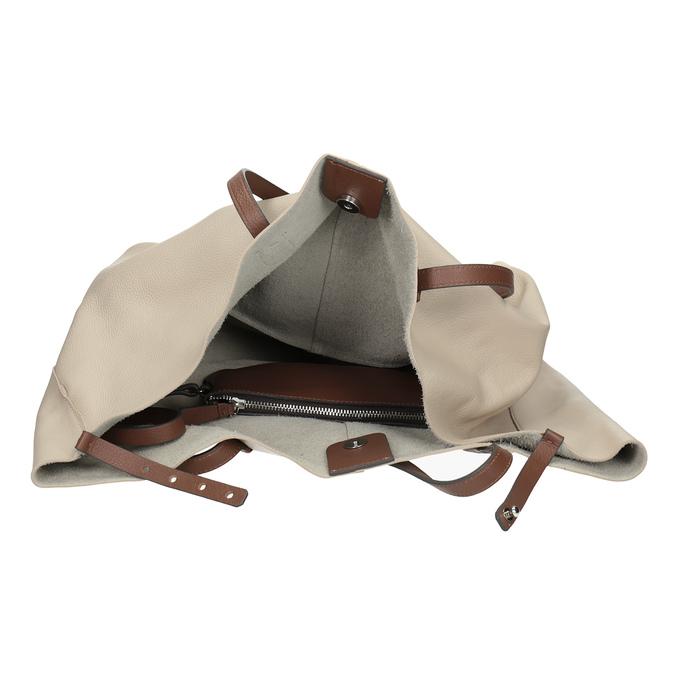 Béžová kožená kabelka s hnědými uchy bata, béžová, 964-8293 - 15