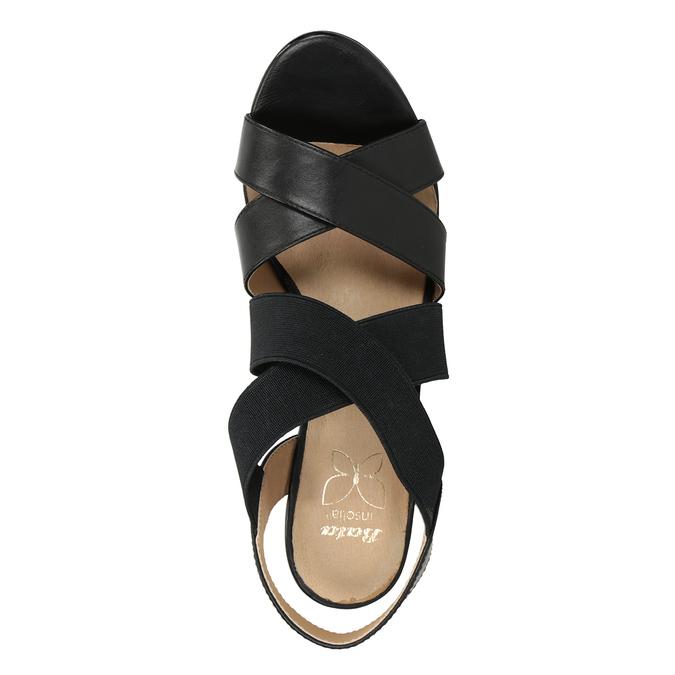 Černé kožené sandály na podpatku s pružením insolia, černá, 766-6606 - 17