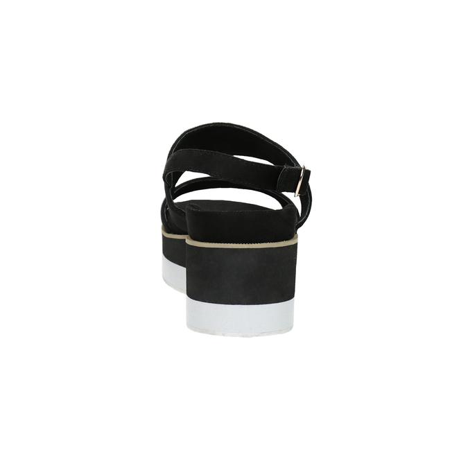 Černo-bílé sandály na flatformě bata, černá, 769-6631 - 15