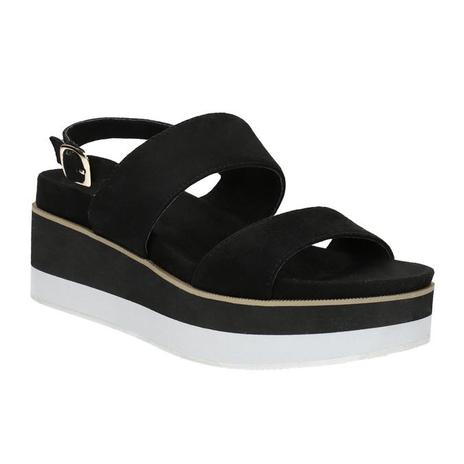 Černo-bílé sandály na flatformě bata, černá, 769-6631 - 13