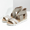 Zlaté dámské sandály na klínku bata, béžová, 569-8608 - 26