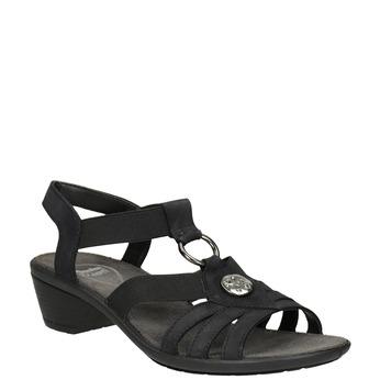 Černé dámské kožené sandály comfit, černá, 666-6619 - 13