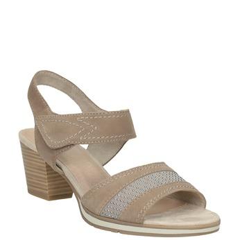Kožené sandály šíře H s kamínky bata, béžová, 666-8616 - 13