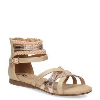 Zlaté dívčí sandály s pletením mini-b, zlatá, 361-8605 - 13