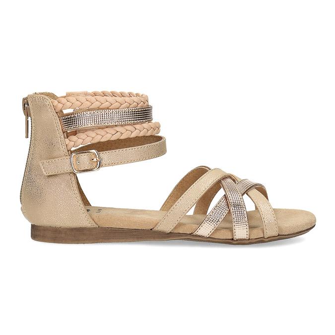 Zlaté dívčí sandály s pletením mini-b, zlatá, 361-8605 - 19