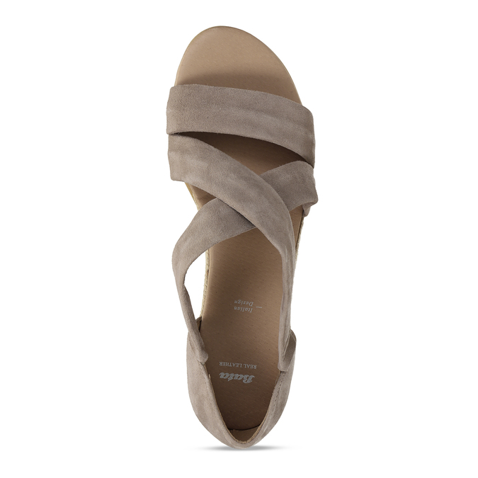 Kožené sandály na klínku bata, hnědá, 563-4600 - 17