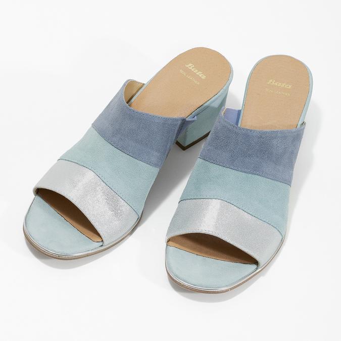 Kožené nazouváky na podpatku modré bata, modrá, 666-9625 - 16