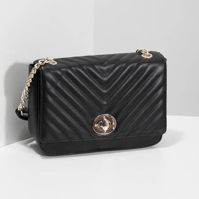 Černá prošívaná kabelka s řetízkem bata-red-label, černá, 961-6861 - 17