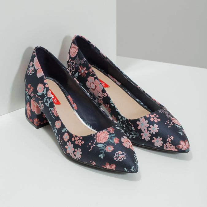 Květinové lodičky na nízkém podpatku bata-red-label, modrá, 629-5640 - 26