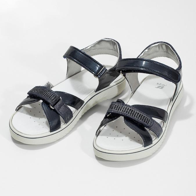Modré dívčí sandály s kamínky mini-b, modrá, 361-9612 - 16