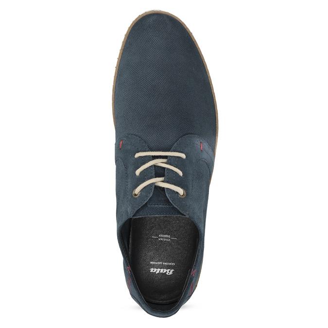 Tmavě modré kožené tenisky s perforací bata, modrá, 823-9617 - 17
