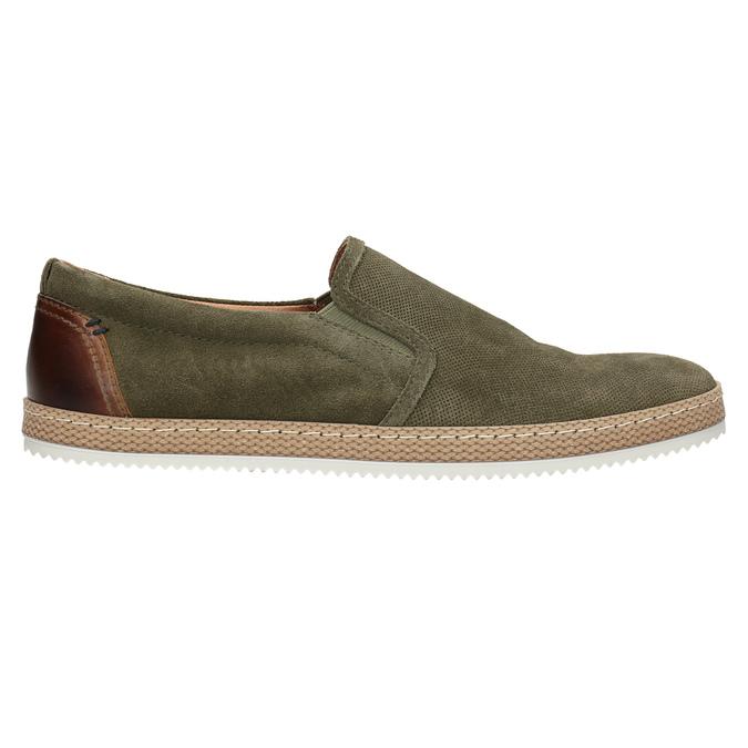 Pánské Slip-on z broušené khaki kůže bata, zelená, 833-7602 - 26