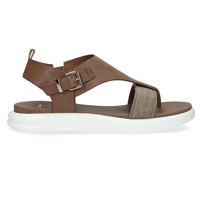 Hnědé dámské sandály na výrazné podešvi bata-light, hnědá, 561-4616 - 19