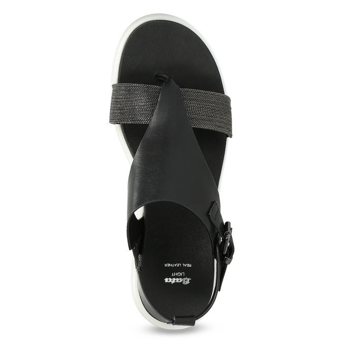 Černé dámské sandály na výrazné podešvi bata-light, černá, 561-6616 - 17