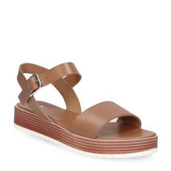 Dámské kožené sandály na flatformě hnědé bata, hnědá, 666-4634 - 13