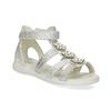 Stříbrné dívčí sandály s kytičkami mini-b, stříbrná, 261-1614 - 13