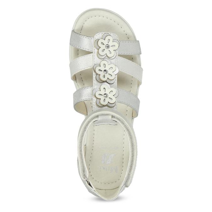 Stříbrné dívčí sandály s kytičkami mini-b, stříbrná, 261-1614 - 17