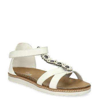 Dívčí sandály s květinovou aplikací mini-b, bílá, 361-1614 - 13