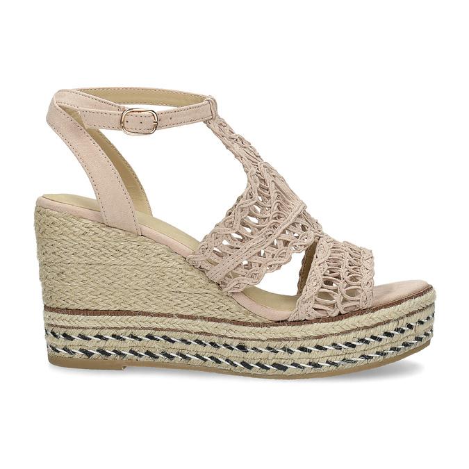 Proplétané sandály na platformě bata, růžová, 759-8633 - 19