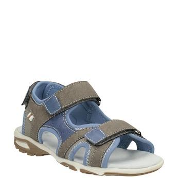 Chlapecké sandály na suchý zip šedo-modré mini-b, hnědá, 261-3608 - 13