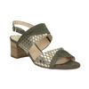 Kožené sandály na stabilním podpatku šíře G gabor, khaki, 766-7035 - 13