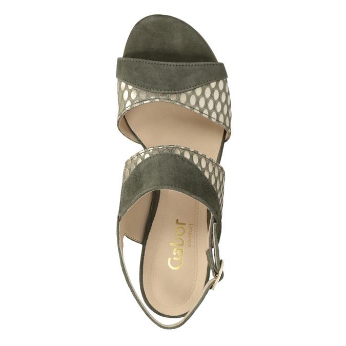 Kožené sandály na stabilním podpatku šíře G gabor, khaki, 766-7035 - 15