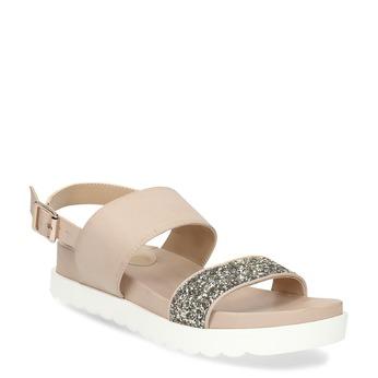 Béžové sandály se zlatými třpytkami bata-light, béžová, 561-4617 - 13