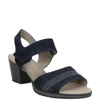 Modré kožené sandály šíře H bata, modrá, 666-9616 - 13