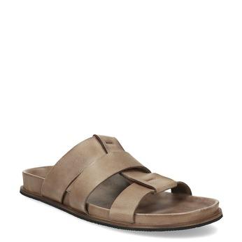 Světle hnědé pánské kožené nazouváky bata, hnědá, 866-3639 - 13