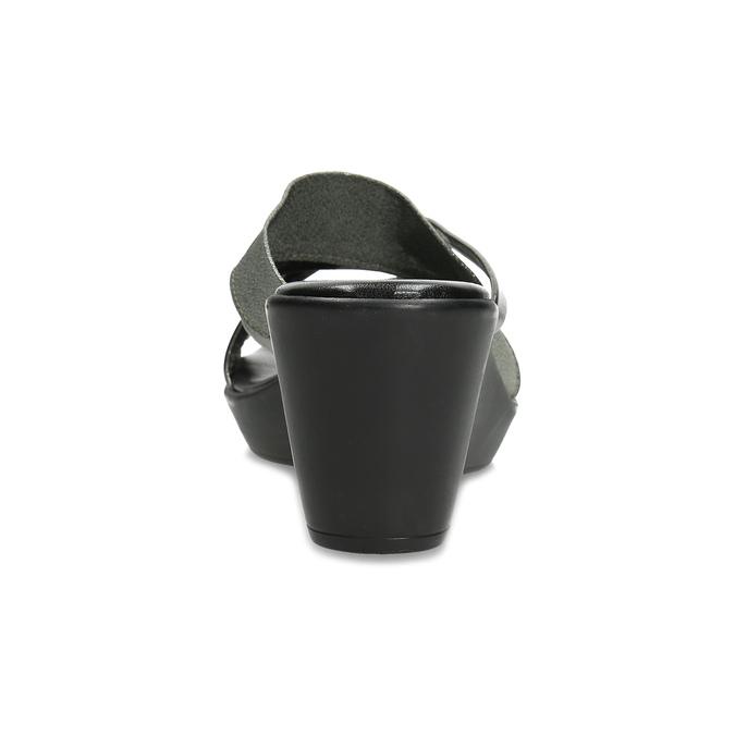 Stříbrno-černé dámské nazouváky na klínku comfit, stříbrná, 661-1612 - 15