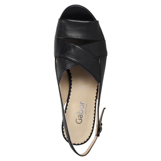 Kožené černé sandály šíře H gabor, černá, 666-6351 - 15