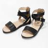 Černé dívčí sandály se zlatou sponou mini-b, černá, 361-6606 - 16
